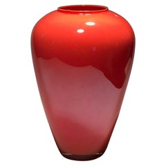 Italy Postmodern Design Orange Murano Glass Vase