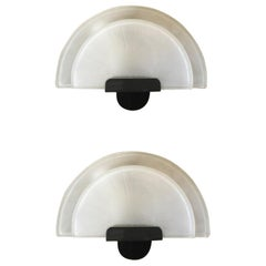 Italy Postmodern Pair of Wall Sconces Glass Satin White, 1980