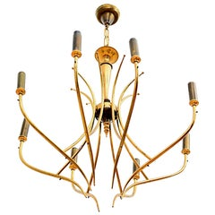 Italy Radiant Chandelier Eight Arm Two-Tone Patinated Brass Oscar Torlasco 1950s