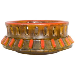 Italy Raymor Alvino Bagni Sea Garden Ashtray Burnt Orange Ceramic Art 1960s