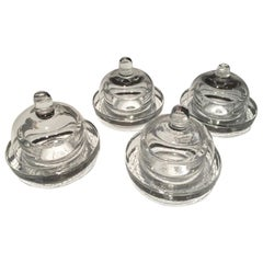 Italy Set of 4 Covered Glass Butter Dishes