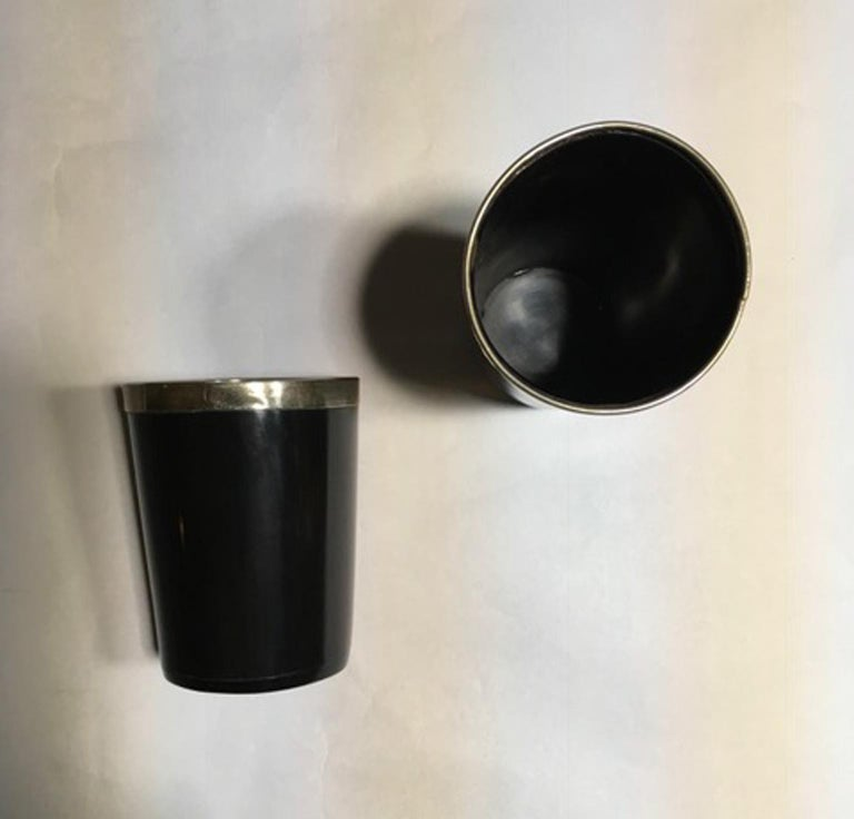 Italy Set of Two Black Faux Horn and Metal Chrome Bowls in Mountain Style For Sale 3