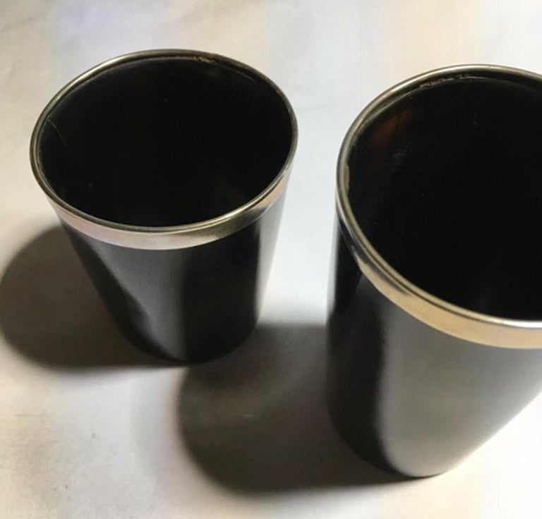 Italy Set of Two Black Faux Horn and Metal Chrome Bowls in Mountain Style For Sale 11