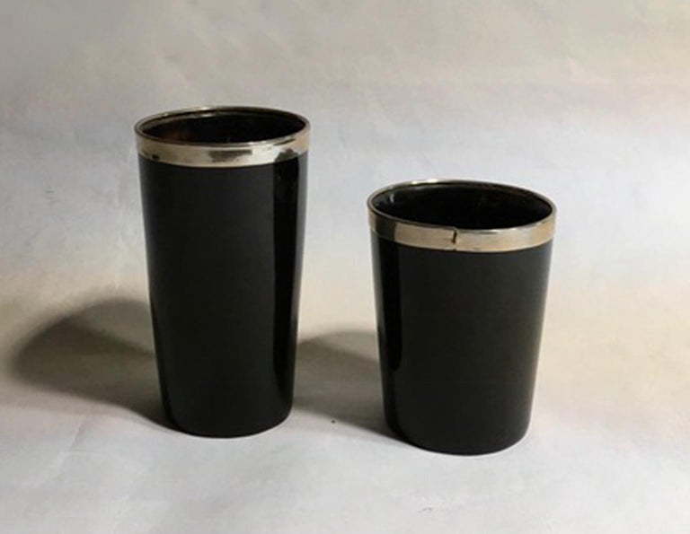 Italy set of two black faux horn and metal chrome bowls in mountain style contemporary production.  Set of two very decorative objects that recall the Mountain style. The black material imitate the horn.