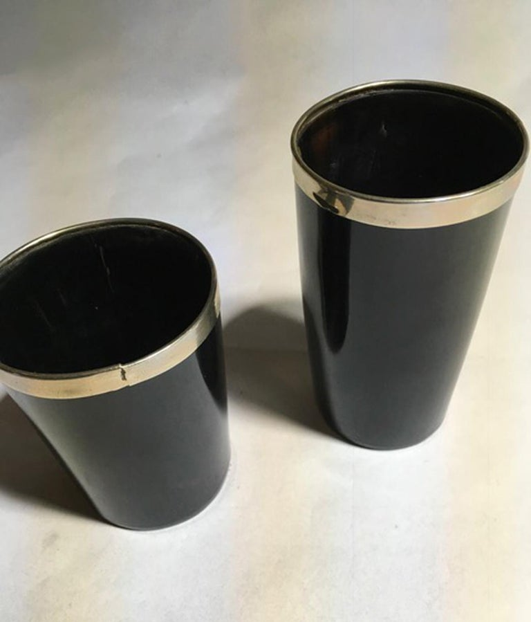 Italy Set of Two Black Faux Horn and Metal Chrome Bowls in Mountain Style For Sale 1
