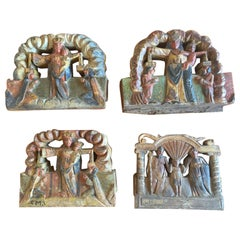 Italy Sicily Late 19th Century Set of 4 Kitchen Wooden Tiles with Rural Scenes
