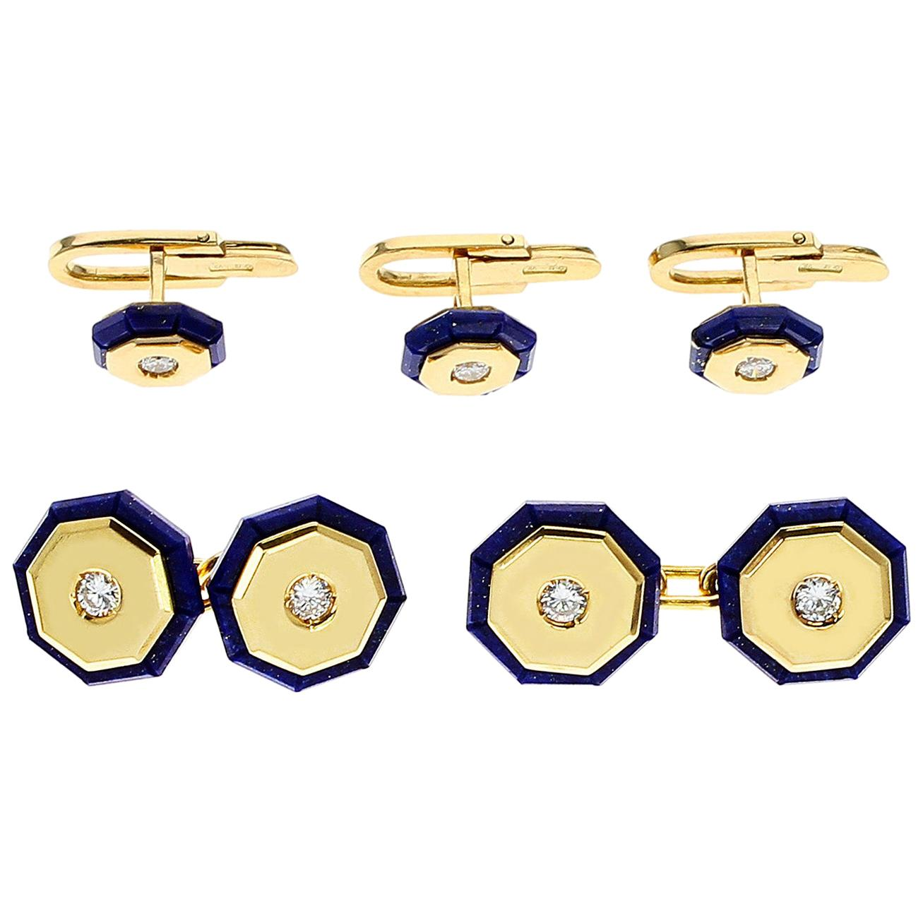 Italy Stamped Lapis and Gold Dress Shirt Pins and Cufflink Set, 18K Yellow Gold