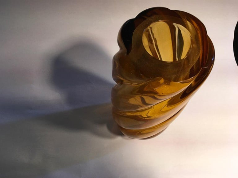 Italy Murano Mid-Century Modern Design Gold Yellow Glass Vase by Seguso For Sale 1
