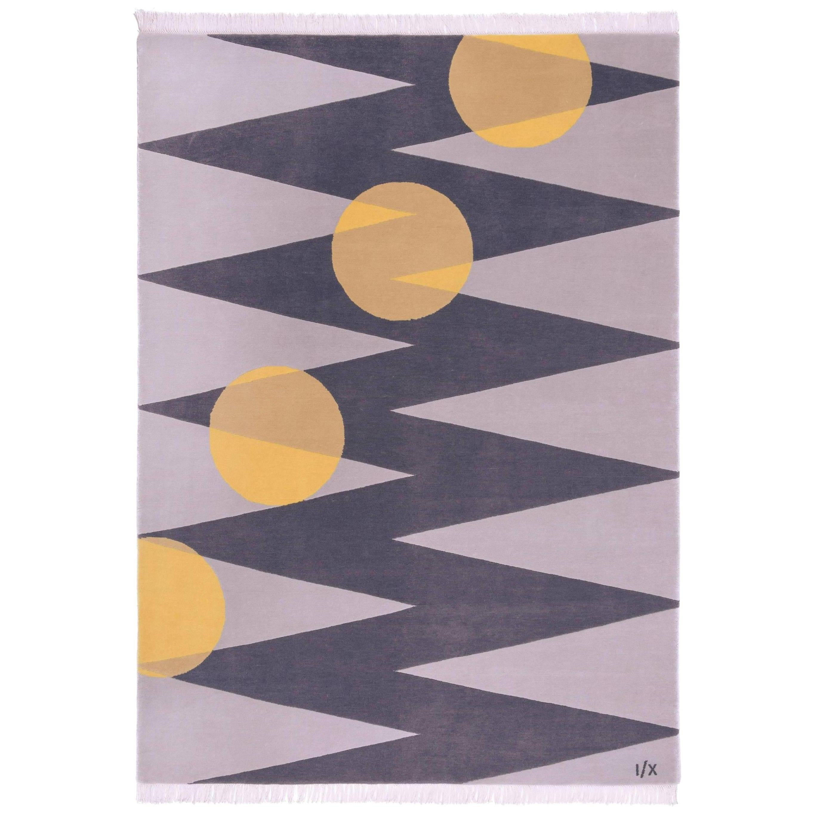 light & dark Grey Wool Rug w/ Yellow Dots  by Cecilia Setterdahl for Carpets CC