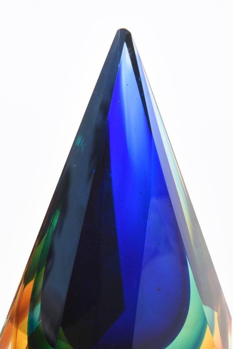 Italian Murano Diamond Faceted Sommerso Glass Paperweight or Sculpture For Sale 1