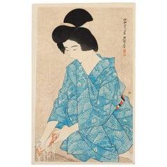 Ito Shinsui, After Bathing, Original Japanese Woodblock Print, Shin Hanga, Blue