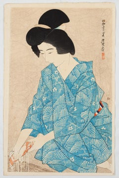 Ito Shinsui, Beauty, Shin-Hanga, Bath, Original Japanese Woodblock Print, Showa