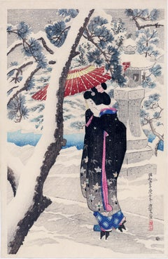 Japanese Beauty Visiting a Shrine in Winter
