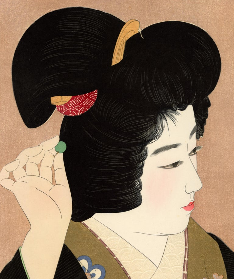 Pupil of the Eye; Japanese Beauty in Kimono - Print by Ito Shinsui