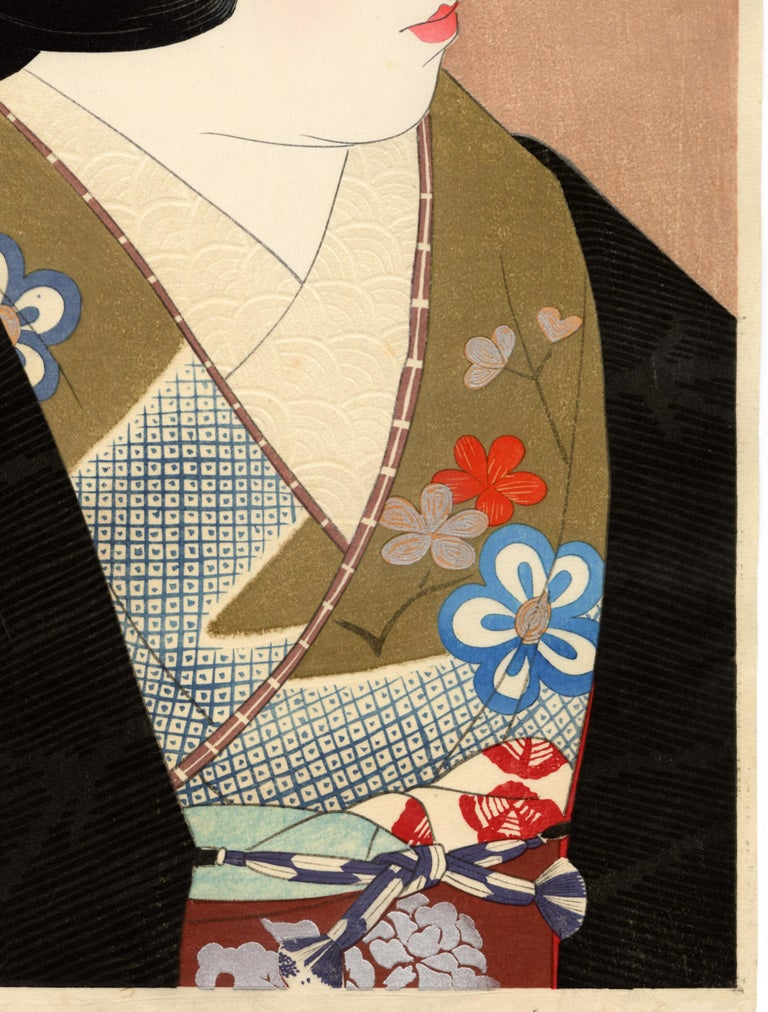 Pupil of the Eye; Japanese Beauty in Kimono - Beige Figurative Print by Ito Shinsui
