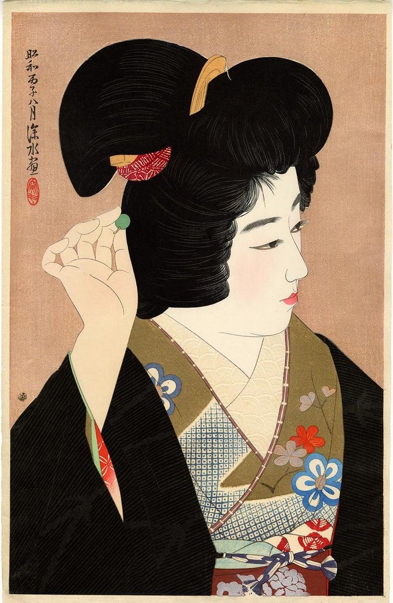 Ito Shinsui Figurative Print - Pupil of the Eye; Japanese Beauty in Kimono