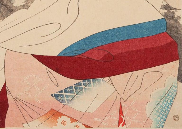 Shinsui, Original Japanese Woodblock Print, Shin Hanga, Beauty, Plum Blossom - Beige Figurative Print by Ito Shinsui