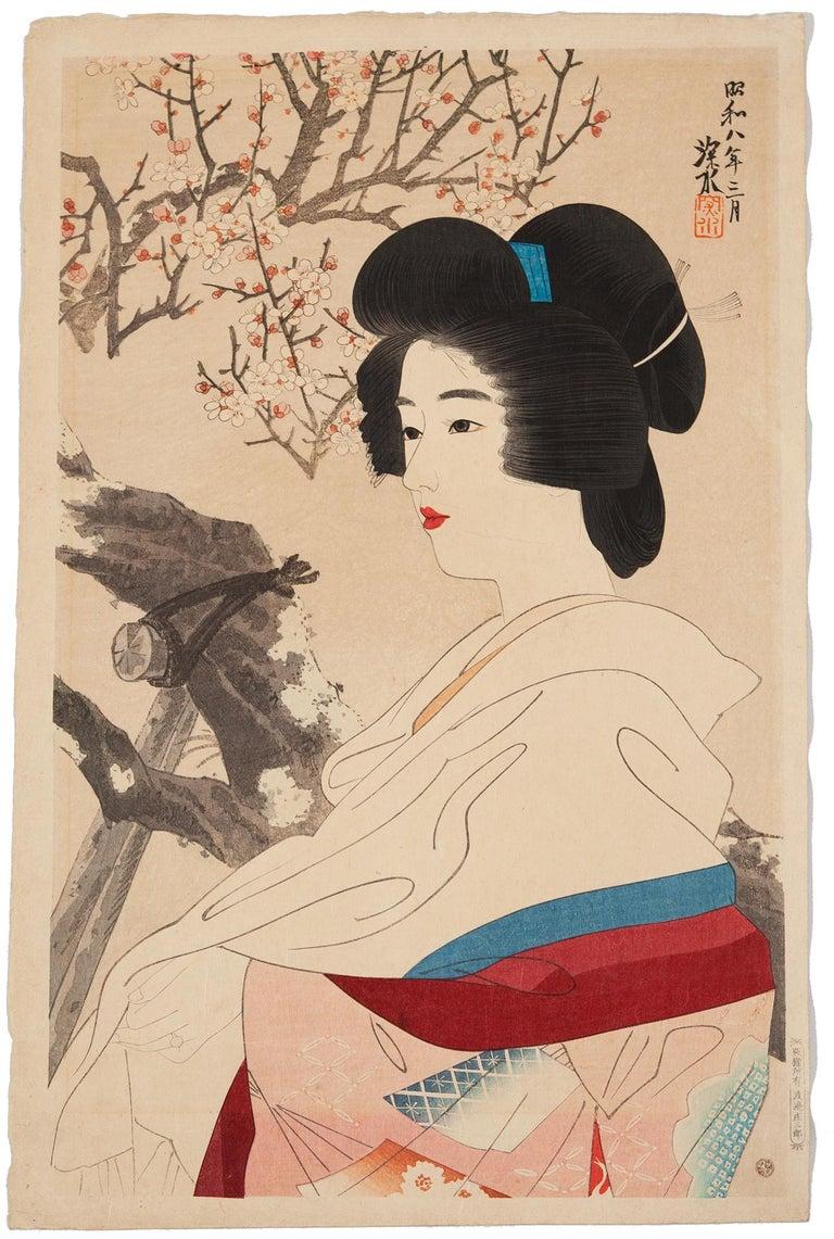 Ito Shinsui Figurative Print - Shinsui, Original Japanese Woodblock Print, Shin Hanga, Beauty, Plum Blossom