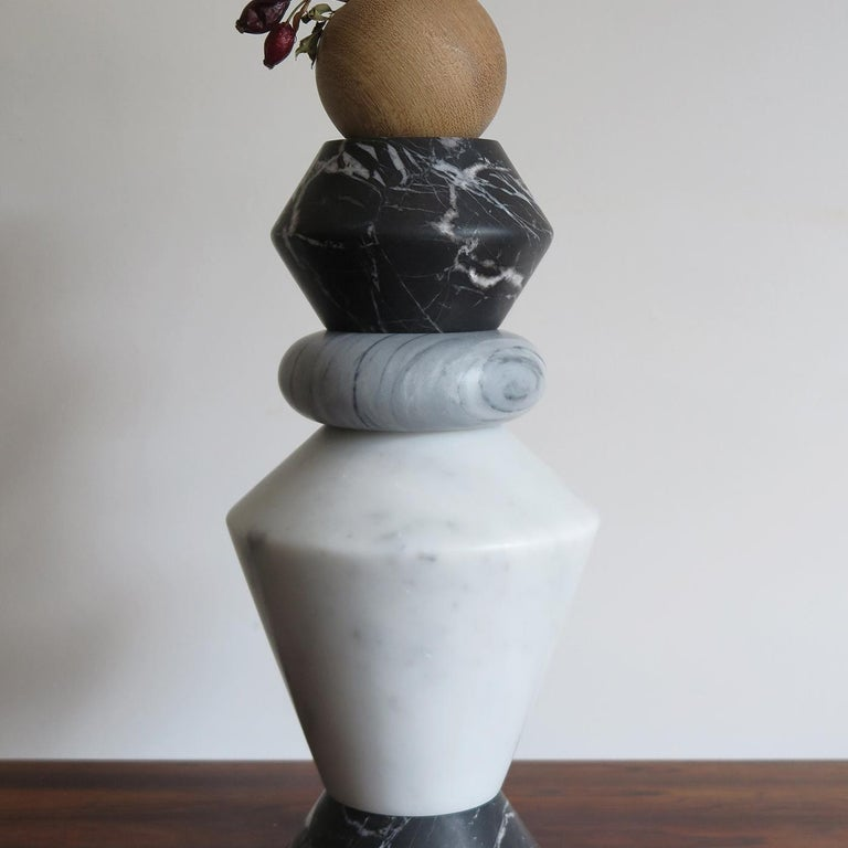 Contemporary iTotem Marble and Wood #1 For Sale