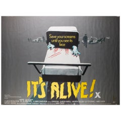 It's Alive 1973 UK Quad Film Poster Signed by Vic Fair