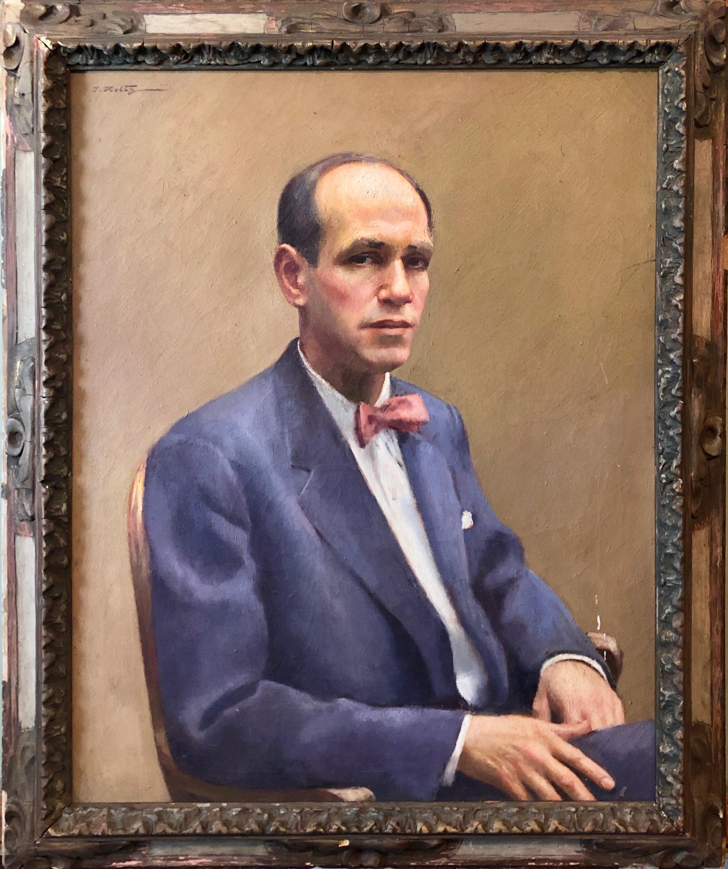 Itzhak Holtz (Judaica Master) Oil Painting Portrait John Sloan Ashcan Artist WPA