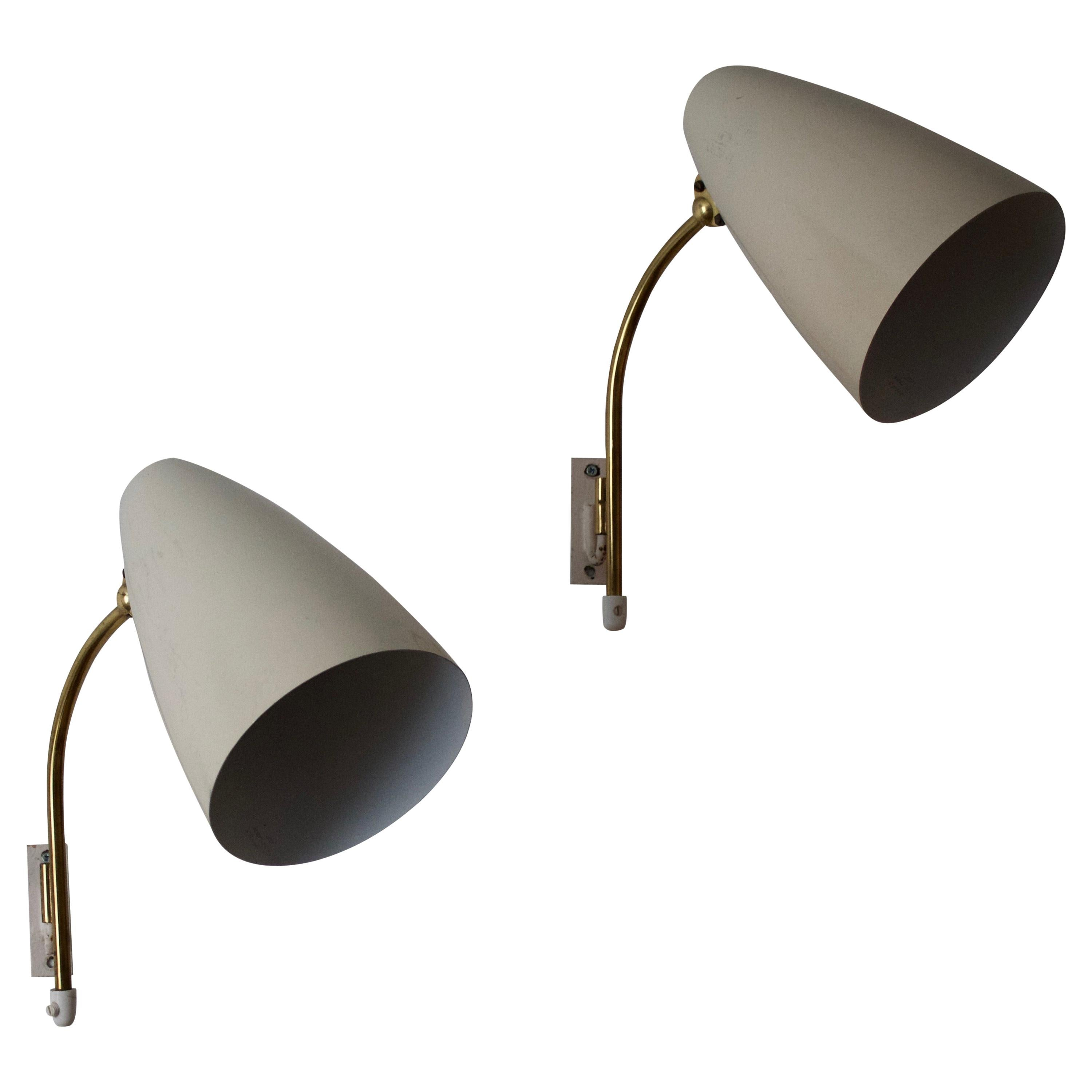 Itsu, Adjustable Wall Lights, Brass, Lacquered metal, Finland, 1950s