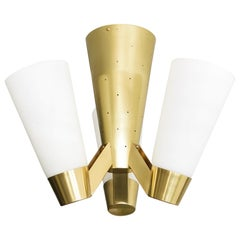 Itsu, Finnish 1960 'AA71' Flush Mount with Polished Brass Frame and 3 Opal Shade