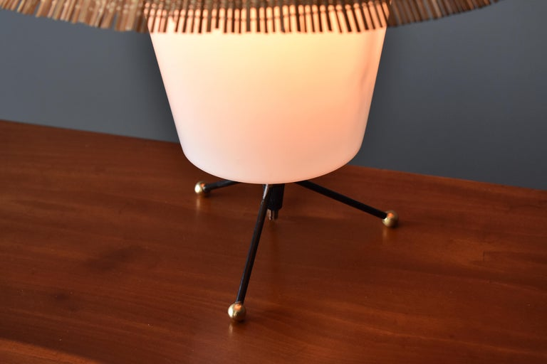 Finnish Itsu, Modernist Table Lamp, Brass, Painted Steel, Acrylic, Reed, Finland 1950s For Sale