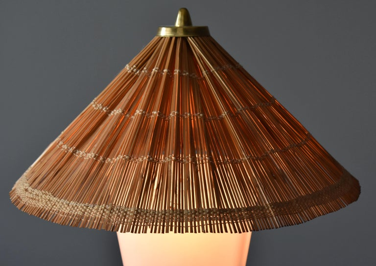 Itsu, Modernist Table Lamp, Brass, Painted Steel, Acrylic, Reed, Finland 1950s In Good Condition For Sale In West Palm Beach, FL