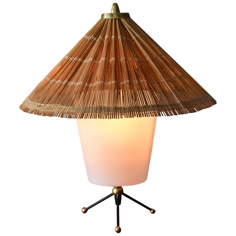 Itsu, Modernist Table Lamp, Brass, Painted Steel, Acrylic, Reed, Finland 1950s For Sale