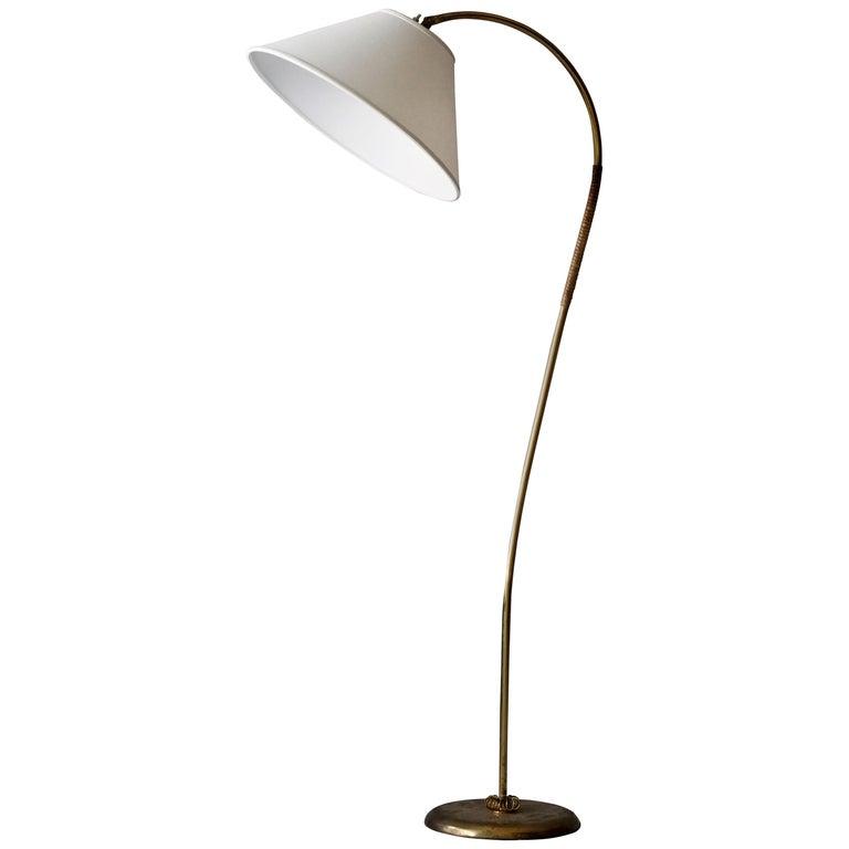 Itsu, Organic Floor Lamp, Brass, Reed, Off-White Fabric Finland, 1950s