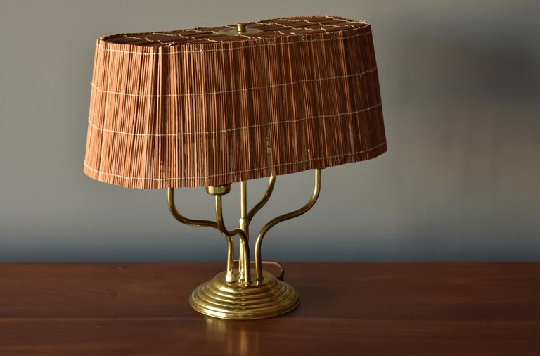 Finnish Itsu, Organic Modernist Four Armed Table Lamp, Brass, Reed, Finland, 1950s For Sale