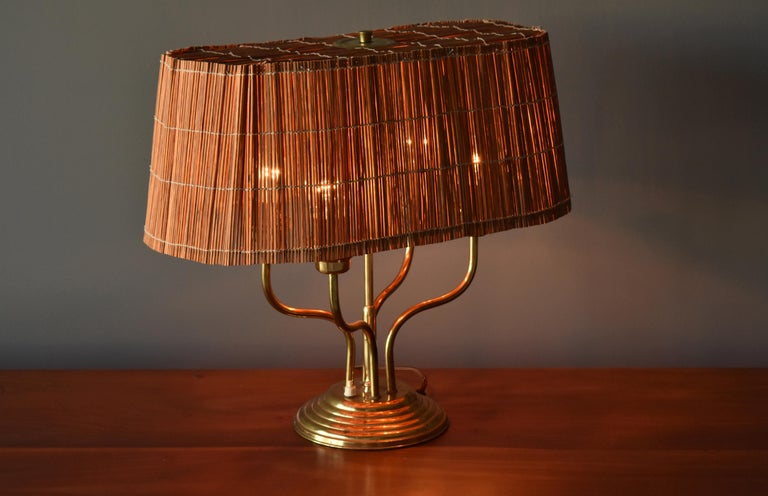 Itsu, Organic Modernist Four Armed Table Lamp, Brass, Reed, Finland, 1950s In Good Condition For Sale In West Palm Beach, FL