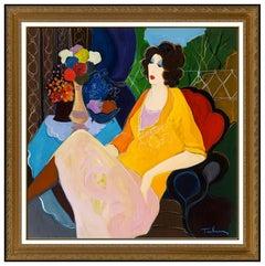 Itzchak Tarkay Large Oil Painting On Canvas All Original Cafe Portrait Signed