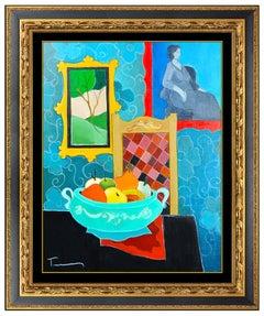Itzchak Tarkay Original Oil Painting On Canvas Signed Still Life Cafe Artwork