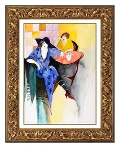 Itzchak Tarkay Original Watercolor Painting Signed Female Lady Portrait Cafe Art