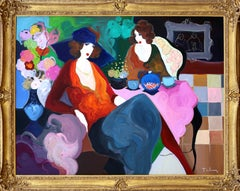 Two Women Enjoying Tea, Large Painting by Itzchak Tarkay