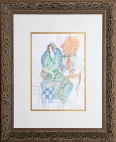 Elegant Lady Seated, Watercolor by Tarkay