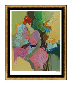 Itzchak Tarkay Color Serigraph Large Embossed Female Portrait Cafe Signed Art
