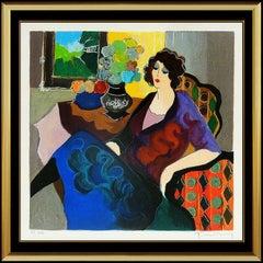 Itzchak Tarkay Embossed Color Serigraph Signed Woman Lady Cafe Portrait Artwork
