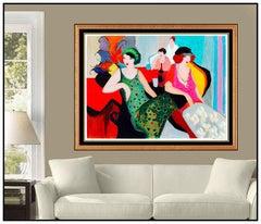 Itzchak Tarkay Large Color Serigraph Signed Modern Female Portrait Cafe Artwork