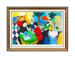 Itzchak Tarkay Large Embossed Color Serigraph Cafe Danielle Hand Signed Artwork