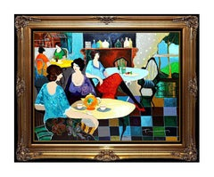 Itzchak Tarkay Morning Tea Embossed Color Serigraph Cafe Women Signed Artwork