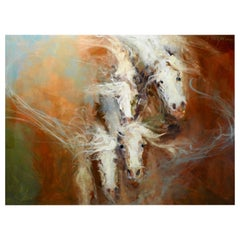 """IV"" Horses Dissipating, Expressionist Oil Painting"
