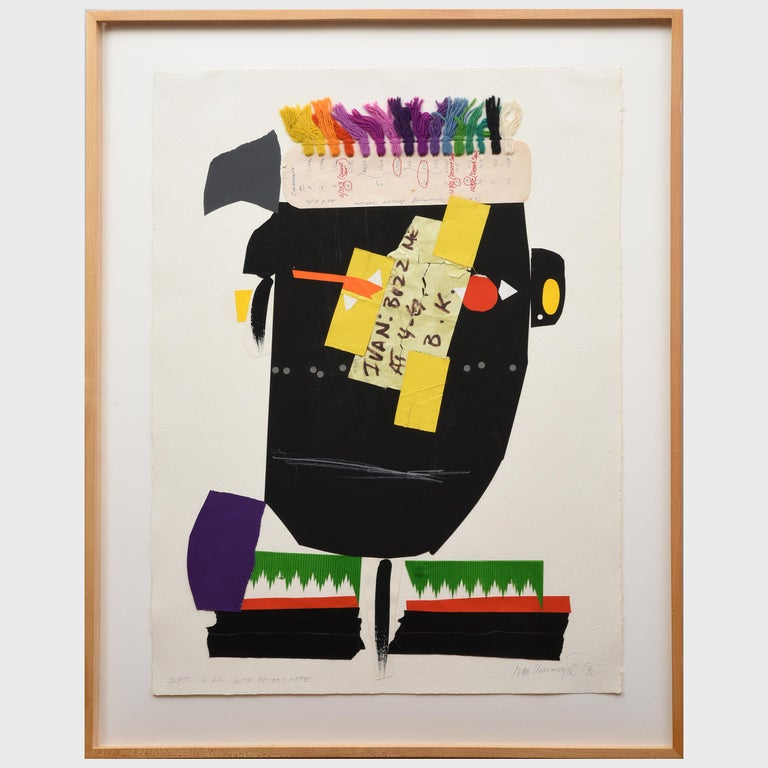 African with Brian's Note - Abstract Geometric Mixed Media Art by Ivan Chermayeff