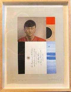 Chine Colle Photo Collage Assemblage Art Jockey, President Clinton Invitation