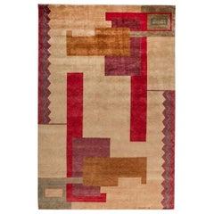 Ivan Da Silva-Bruhns Inspired Large Art Deco Colorful Handmade Wool Rug