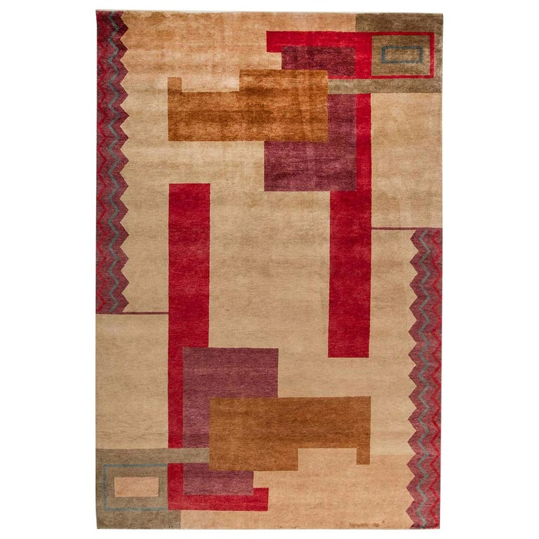 Ivan Da Silva Bruhns Inspired Large Art Deco Colorful Handmade Wool Rug For Sale At 1stdibs