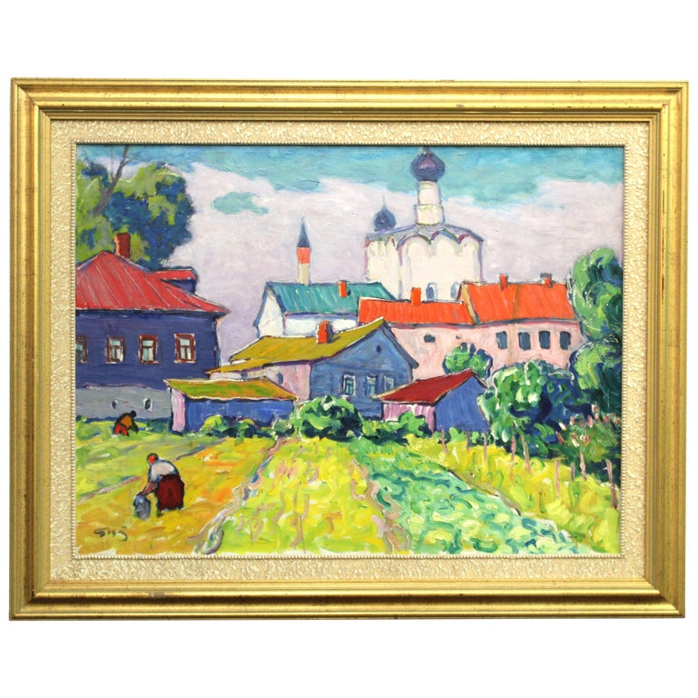 Ivan Godlevsky Expressionist Russian Landscape Oil on Canvas For Sale