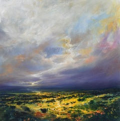 Deep Purple - British abstract landscape oil painting Contemporary countryside